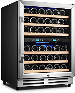 Karcassin Wine Cooler Refrigerator – Compressor Wine Bottle Chiller – 2 Compartment – Dual Temp Zones for Red & White – Stores upto 46 Bottles – Silent with Low Vibrations – Freestanding or Built-in
