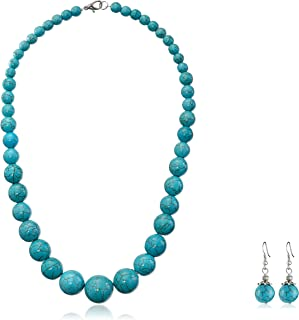 Gem Stone King Green Simulated Turquoise Howlite 20inches Lobster Clasp Necklace Earring Set