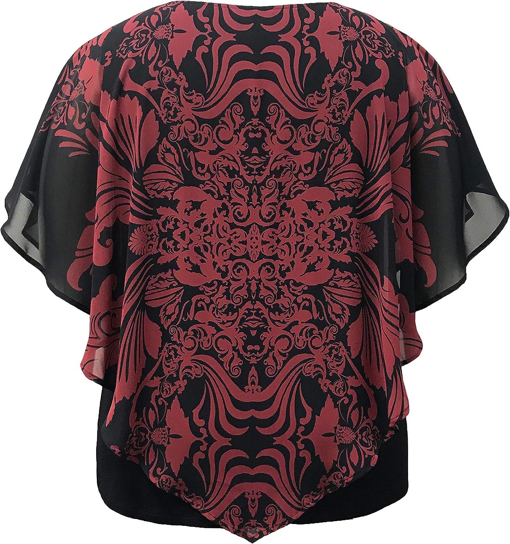 LEEBE Womens Plus Size Double-Layered Print Chiffon Poncho Blouse Top 1X-5X