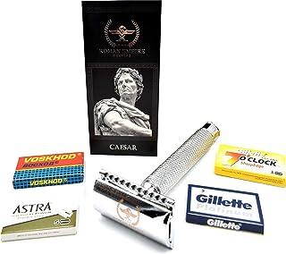 Roman Empire Shaving® Golarka Caesar – elegancki Safety Razor dla kobiet i mężczyzn – golarka na mokro zestaw z 20 ostrzam...