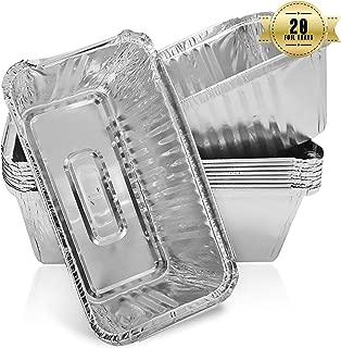 Bandejas desechables de aluminio para pan, hornear, cocinar, congelar y almacenar, 218 mm x 115 mm x 60 mm (20 unidades)
