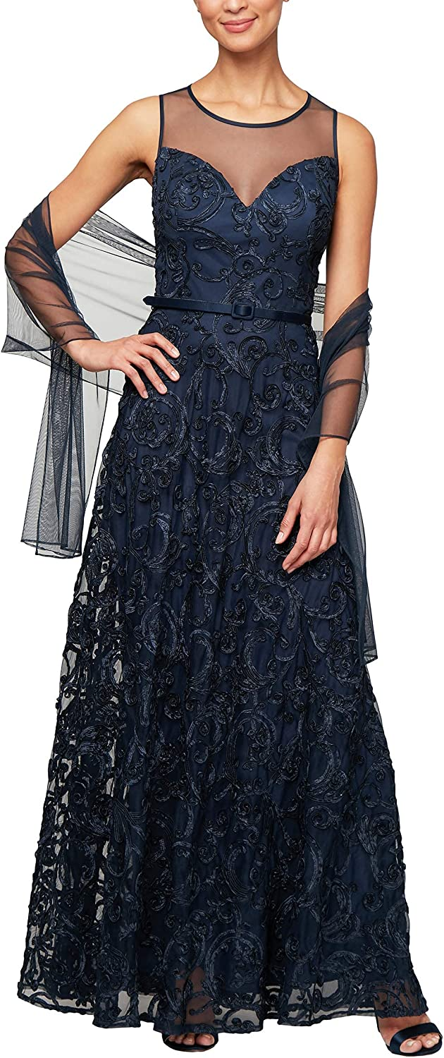 Alex Evenings Women's Cap Sleeve Embroidered Gown