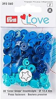 PrymLove Forme étoile Non-Sew colorsnaps fermoirs, en Plastique, Bleu/Turquoise/Bleu Marine, 12,4mm, 30Pièces