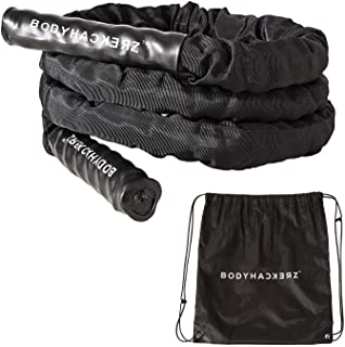 BODYHACKERZ Heavy Battle Jump Rope 5.5lb | Weighted Jump Rope For Fitness Workout | Durable Protective Full Sleeve | 1,5 i...