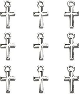 100pcs Silver Plated Peace Cross Charms Pendants Jewelry Making DIY Charm Crafts Handmade 16x9mm (100pcs)