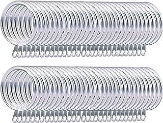 Coolty 60pcs Anillos de Cortina de Metal Anillas Colgante para Colgar Cortinas y Varillas(Plateado)
