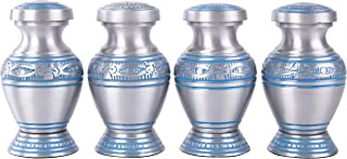 GSM Brands Keepsake Cremation Urns (Set of 4) - Mini Funeral Memorials in Silver Design with Box Meant for Sharing of Token Amount of Ashes (3 Inch by 2 Inch)