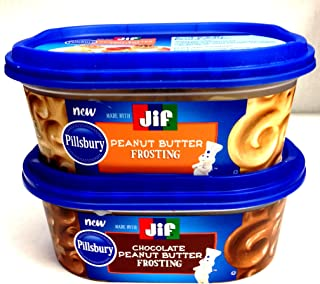 Pillsbury-Jif PEANUT BUTTER FROSTING Variety 4-Pack, 2 containers each of: PEANUT BUTTER FROSTING; CHOCOLATE PEANUT BUTTER FROSTING + BONUS Set of Heavy Duty Plastic Utensils