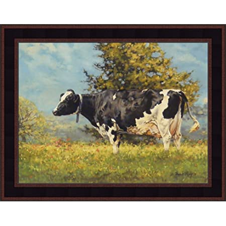 Home Cabin Décor Babe By Bonnie Mohr 16x20 Holstein Cow Summer Pasture Framed Art Print Picture Posters Prints