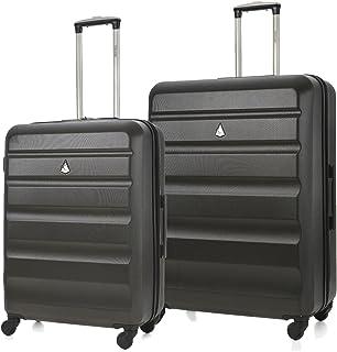 Aerolite ABS Valise Rigide Léger 4 roulettes Set de Bagages (Charbon, Moyen + Grand)