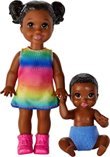 Barbie Skipper Babysitters Inc. Dolls, 2 Pack of Sibling Dolls Includes Small Toddler Doll with Brunette Pigtails & Blonde Baby Doll Figure in Diaper, for 3 to 7 Year Olds​​