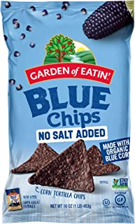 Garden of Eatin' Blue Corn Tortilla Chips, No Salt Added Blue Chips, 16 Oz (Pack of 12) (Packaging May Vary)