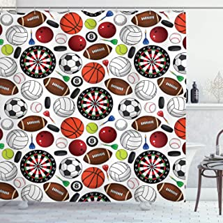 Ambesonne Sports Decor Collection, Pattern with Billiards Balls Hockey Pucks Darts Arrows and Target Boards Image, Polyester Fabric Bathroom Shower Curtain Set with Hooks, Orange White Burgundy