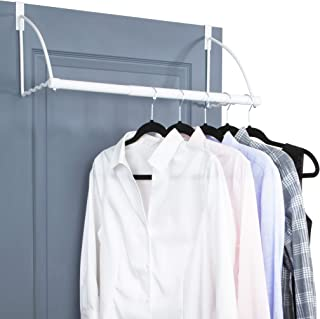 Over The Door Closet Valet- Over The Door Clothes Organizer Rack and Door Hanger for Clothing or Towel, Home and Dorm Room Storage and Organization (White)