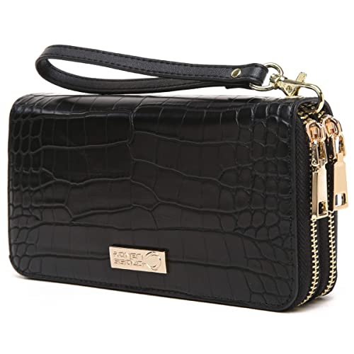 351114aa55 CrossLandy Women Men RFID Blocking Double Zip Leather Wallet Clutch Wristlet