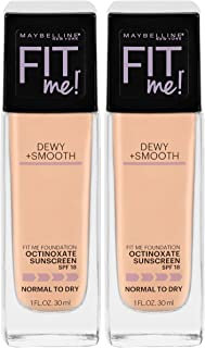 Maybelline New York Fit Me Dewy + Smooth Foundation Makeup, Nude Beige, 2 Count