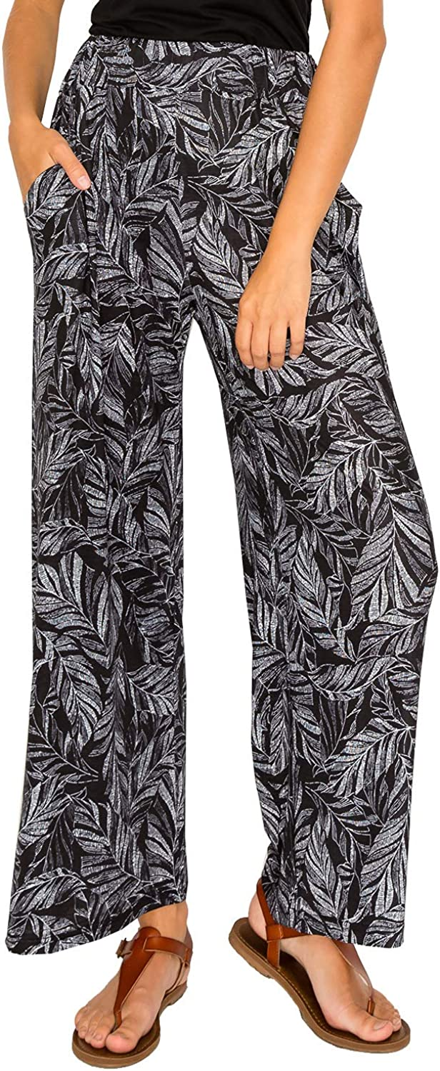 Women's Wide Leg Pants Palazzo Stylish Soft Loose Fit with Elastic Waist Side Pockets