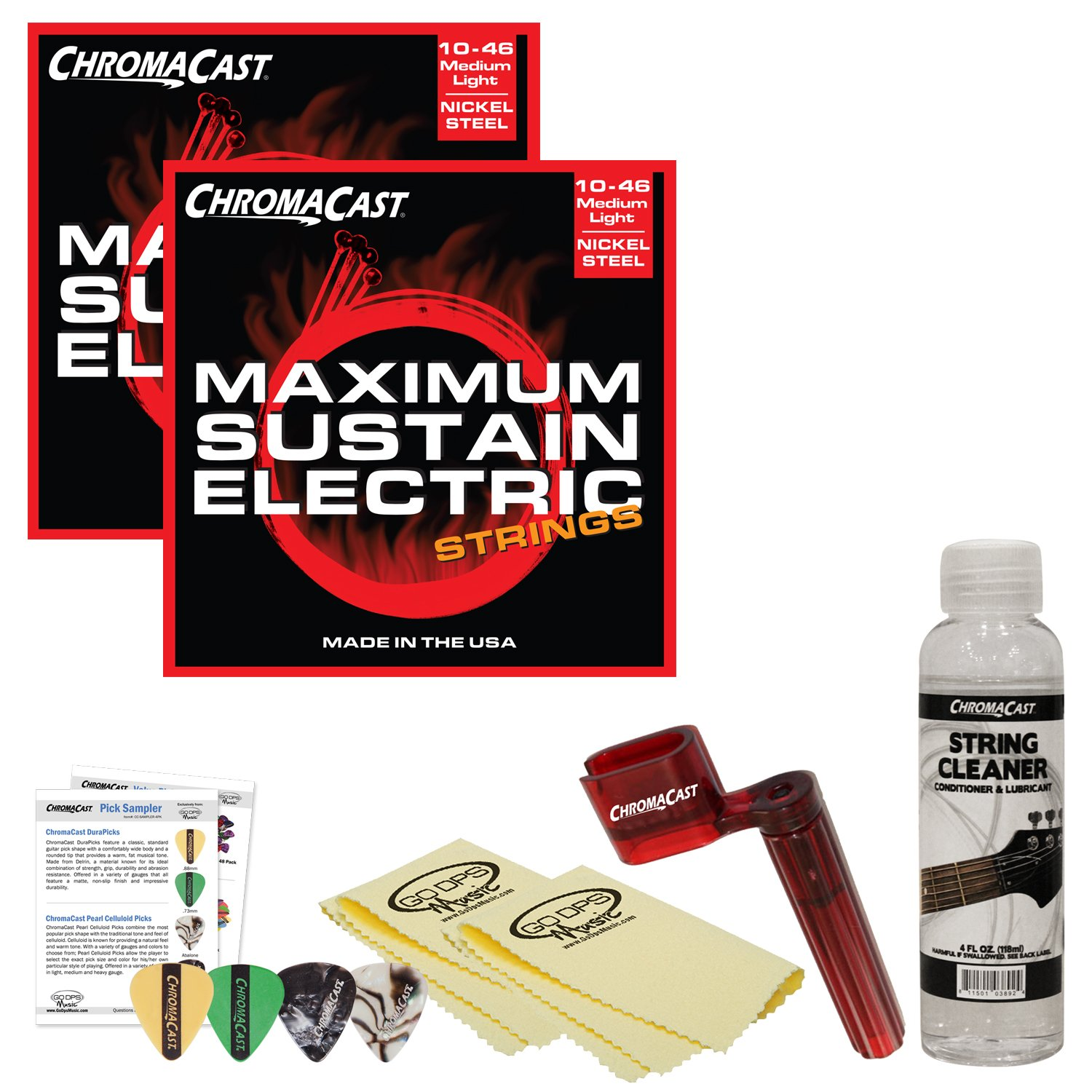 Cheap ChromaCast JB-EGAP-MEDLIGHT Electric Guitar Essential Accessory Bundle with 2 Sets of Max Sustain Med-Light Strings Winder Cleaner and Cloth Black Friday & Cyber Monday 2019