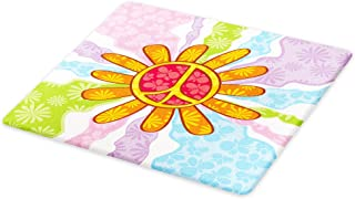 Lunarable Groovy Cutting Board, Hippie Peace Daisy Flower Shape Pacifism Floral Summer Illustration, Decorative Tempered Glass Cutting and Serving Board, Large Size, Apricot
