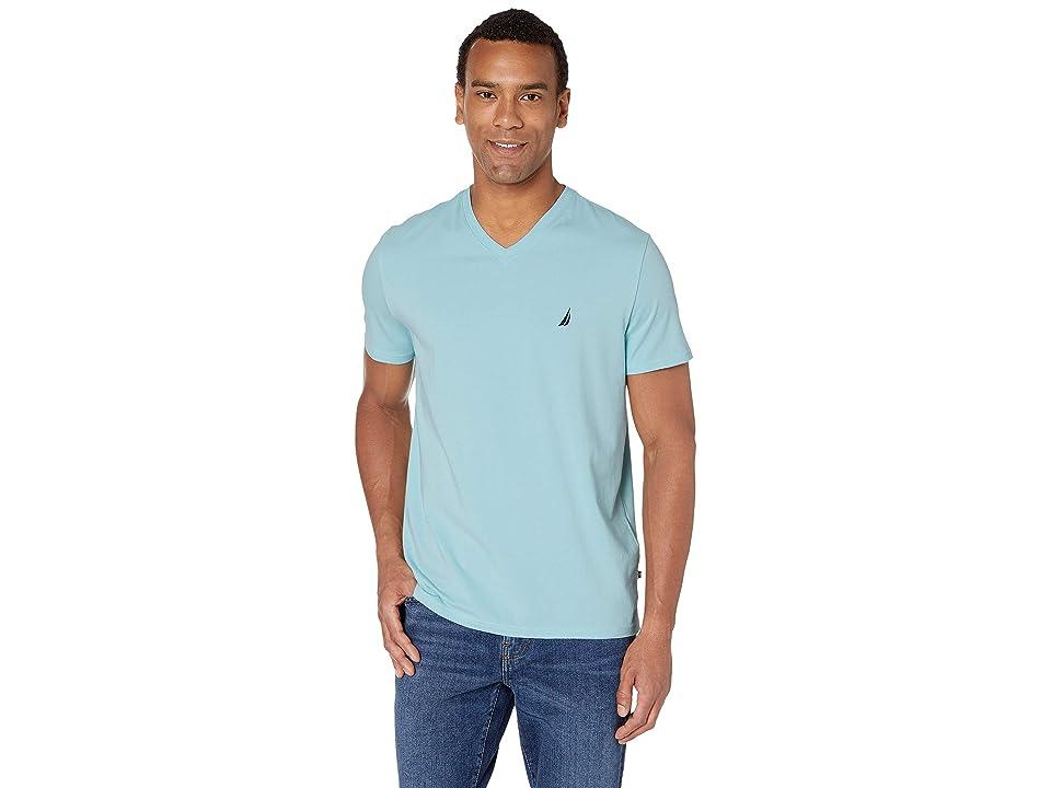 Nautica Short Sleeve Fashion Jersey V-Neck Tee (Harbor Mist) Men
