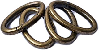 Bobeey 4pcs Spring Oval Rings,Oval Carabiner Snap Clip Trigger Spring Keyring Buckle,Oval Ring for Bags,Purses BBC8, Antiq...