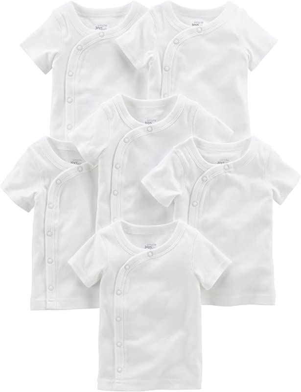 Simple Joys By Carter S Baby 6 Pack Side Snap Short Sleeve Shirt