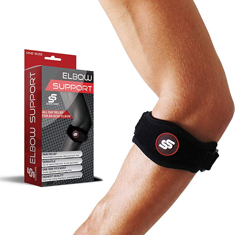 SS SLEEVE STARS Tennis Elbow Brace With Compression Pad For Men Women Elbow Brace For Tendonitis Tennis Golfer S Elbow Pain Relief Fits 9 23 3 Straps Included Single