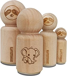 Cute Baby Elephant Rubber Stamp for Stamping Crafting Planners - 1/2 Inch Mini