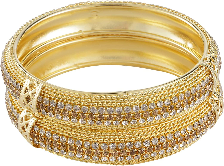 Efulgenz Indian Style Bollywood Gold Plated Rhinestone Crystal Bridal Wedding Bracelet Bangle Set Jewelry