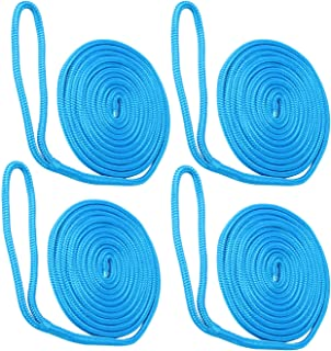 NovelBee 4 Pack of 3/8 Inch x 20 Feet Double Braid Nylon Dockline,Mooring Rope Dock Line,Working Load Limit 660 lbs,Breaking Strength 3,300 lbs