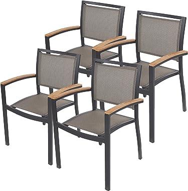 Dporticus 4 PCS Patio Teak Armchair Stackable Backyard Chair Indoor Outdoor Use - Set of 4