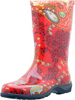 Sloggers  Women's Waterproof Rain and Garden Boot with Comfort Insole, Paisley Red, Size 10,  Style 5004RD10