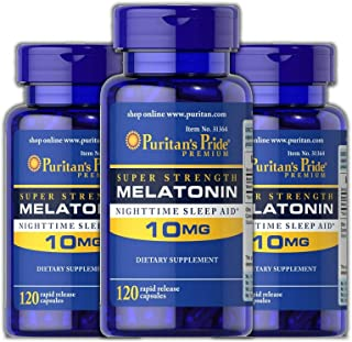 Puritan's Pride Melatonin 10 mg Sleep aid Insomnia Relax Sleep Pill 120 Capsules (3-Pack)