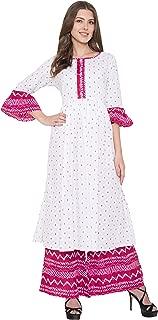 METRO-FASHION Ladies Kurtis for Woman White and Pink Printed Kurties and Palazzo Set (X-Large)