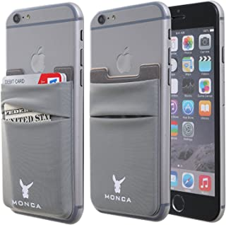 Monca Credit Card [Double Secure] Holder Stick on Wallet Discreet ID Holder Lycra Spandex Card Sleeves [Lid & Pocket] iPhone 6s 7 Samsung Galaxy s8 and Blu Smartphones (Dark Grey)