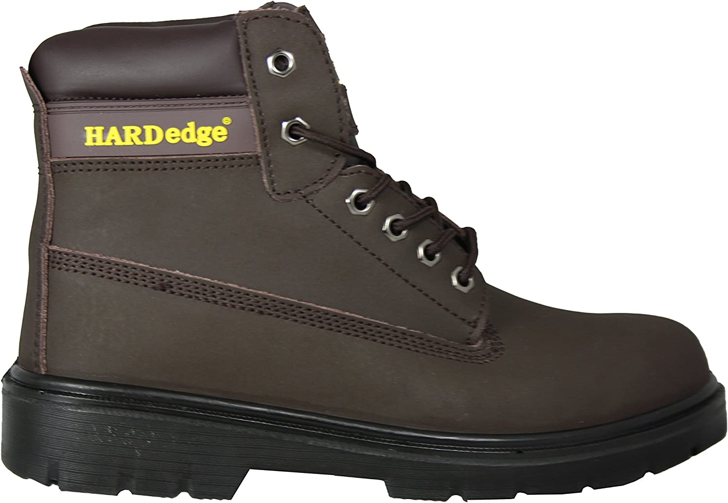 6  Eyelet Leather Safety Boots, Steel Toe Cap, Steel Mid Sole, S3 (09, Brown)