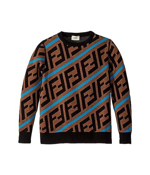 Fendi Kids All Over Logo Print Sweater (Big Kids)