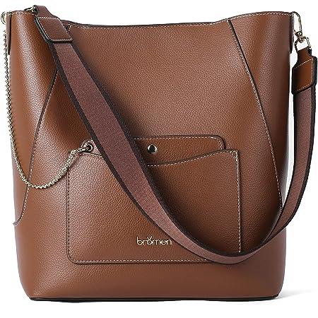 Handtasche Damen Leder Schultertasche Hobo Taschen Ledertasche groß Umhängetasche Shopper Braun