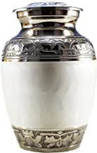 eSplanade Cremation urn Memorial Container Jar Pot for Human Ash Remains | Brass Urns | Metal Urns | Burial Urns