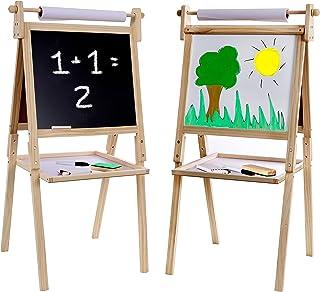Sponsored Ad - Kraftic Deluxe Standing Art Easel - Drawing Chalkboard, Magnetic Whiteboard, Dry Erase Board, Paper Roll an...