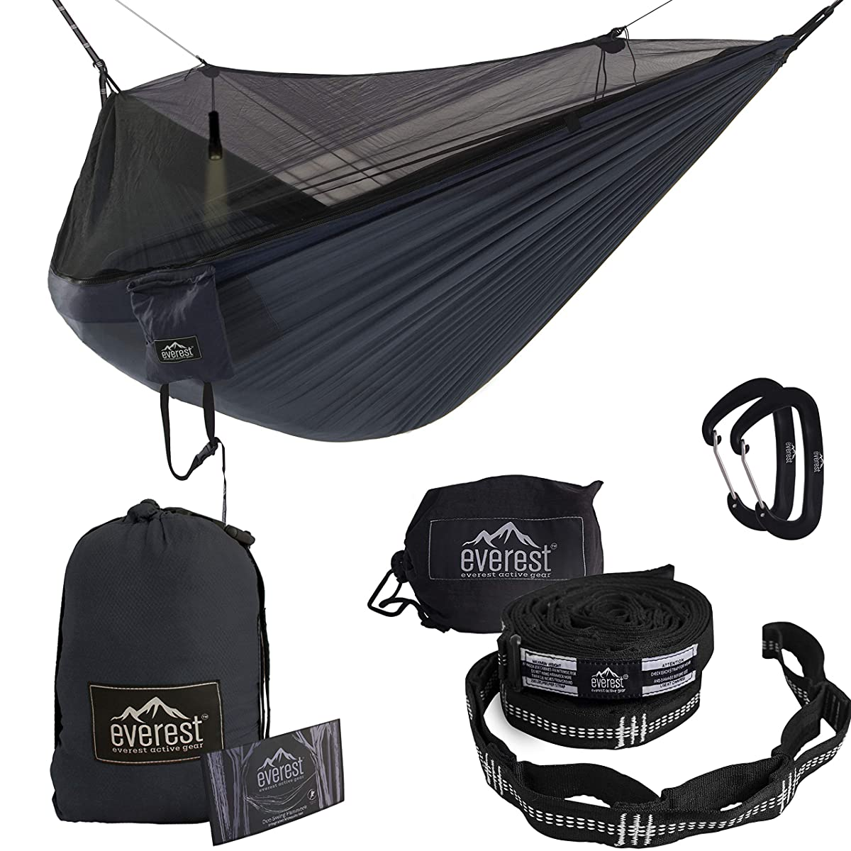 Everest Double Camping Hammock with Mosquito Net   Bug-Free Camping, Backpacking & Survival Outdoor Hammock Tent   Reversible, Integrated, Lightweight, Ripstop Nylon