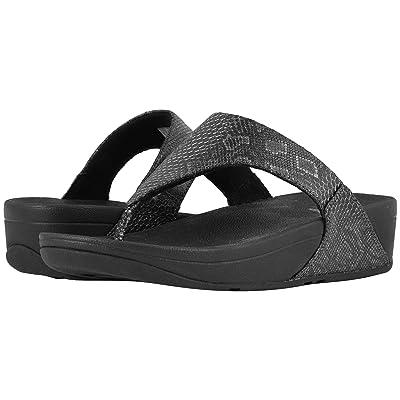 FitFlop Lulu Python Print Toe Thong Sandals (Black) Women