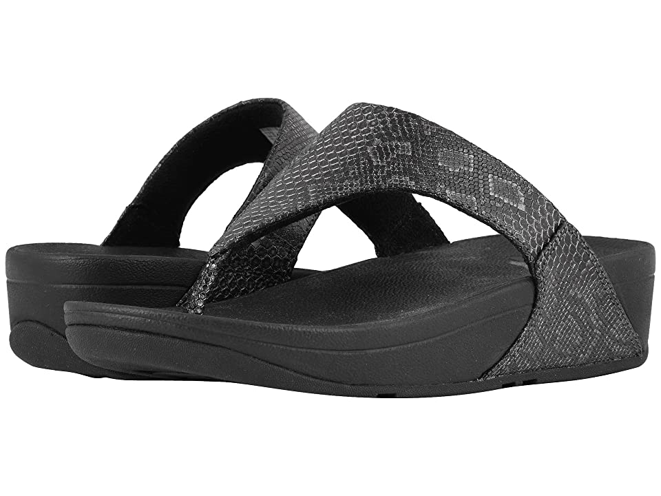 FitFlop Lulu Python Print Toe Thong Sandals (Black) Women
