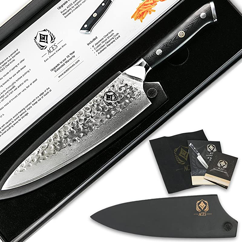 Aces Damascus Chef Knife Japanese VG10 Carbon Stainless Steel 67 Layer Super Sharp Steel 8 Chef S Knives Ergonomic Military Aircraft Grade G10 Handle For Professional Use Bonus Wood Sheath