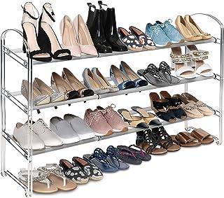 Seville Classics 3-Tier Expandable 24-Pair Shoe Rack Non-Slip Metal Freestanding Closet,..