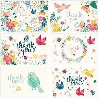 感谢卡 - 36 种各式花卉空白散装便条适用于婚礼、婴儿洗礼、毕业典礼、新娘派对、生日、商务、同事物 - 带信封和金色贴纸 - 4x6 照片尺寸