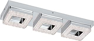 Eglo - Lámpara de techo o pared de acero integrado, cromo y transparente, 46 x 14 x 6 cm