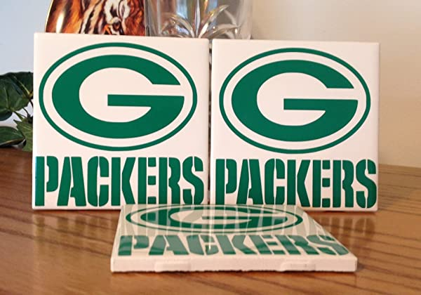 Green Bay Packers Ceramic Tile Coasters Set Of 3