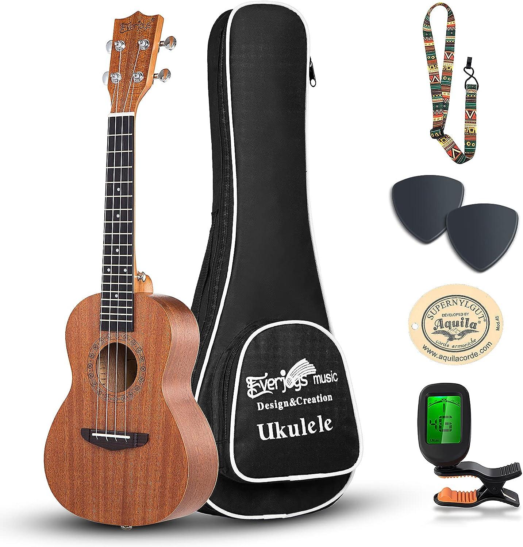 Everjoys Concert New York Mall Ukulele Daily bargain sale Mahogany - Professional inch Wooden 23