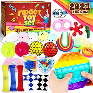 Princeplay Sensory Fidget Packs Toys Pop - Fidget Toy Pack Stress Balls Figit Packages Figetget Push Popper Mochi Squishy Box Anxiety Relief Items Marble Mesh Bubble for Girls Boys Kids Ages 5 - 10+